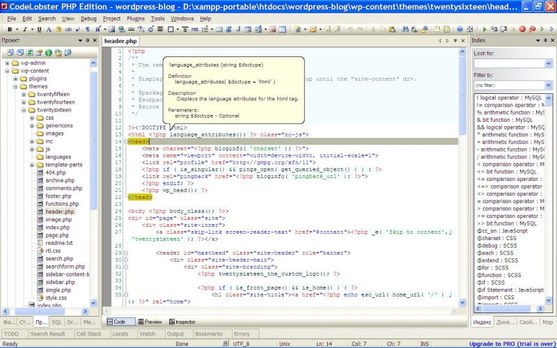 Codelobster per Free PHP Editor