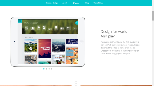 Home page del software di grafica online Canva