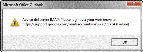 Outlook finestra errore avviso del server imap please login via your web browser