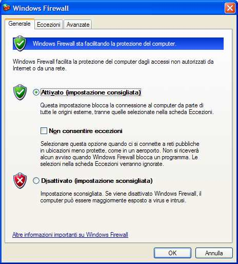 scheda Windows Firewall