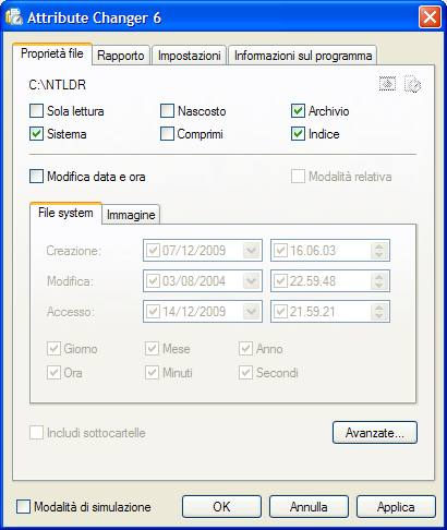 schermata attributi di un file modificabile grazie al software Attribute Changer