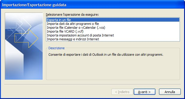 Wizard per l'import ed export dei dati di Outlook