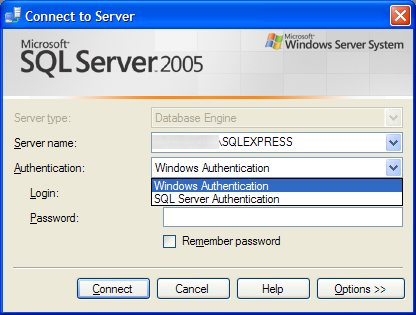 Connession al database engine di Sql Server 2005 con metodo di autenticazione mista