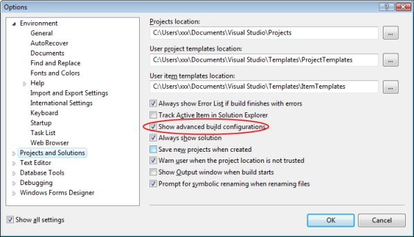 impostare la voce Show advanced build configurations nelle opzioni di configurazione di Visual Studio Express