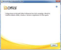 configurazione completata cambio product key in microsoft office plus 2010