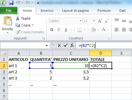 Formula di Excel applicata ad una singola cella
